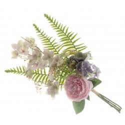 Peony, Hydrangea & Mixed Foliage Bundle - Pink & Purple (50cm long)
