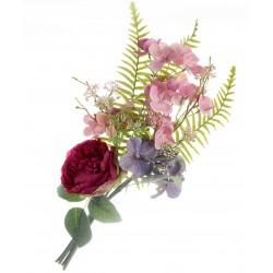 Peony, Hydrangea & Mixed Foliage Bundle - Pink, Cerise & Purple (50cm long)