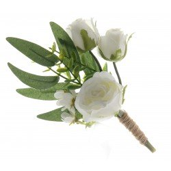 Triple Rose and Foliage Buttonhole - Green/White (21cm long, 3 pieces per pk)