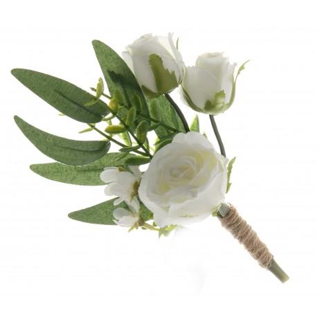 Triple Rose and Foliage Buttonhole - Green/White (21cm long, 3 pieces per pk)