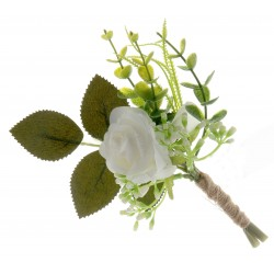 Single Rose and Foliage Buttonhole - Green/White (18cm long, 6 pieces per pk)
