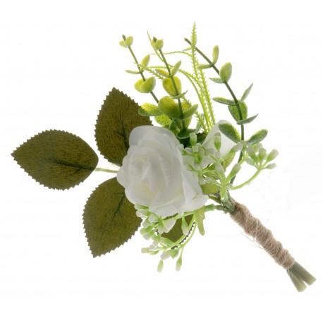 Single Rose and Foliage Buttonhole - Green/White (18cm long, 6 pieces per pk)