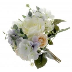 Eucalyptus, Rose & Hydrangea Bush - Cream/Purple  (32cm long)