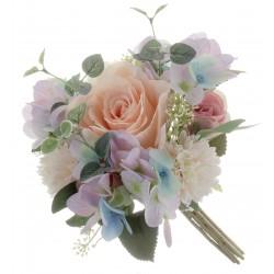 Eucalyptus, Rose & Hydrangea Bush - Cream/Pink (32cm long)