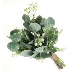 Mixed Foliage Bouquet with Eucalyptus and Gypsophilia - Green (36cm long)