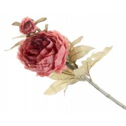 Peony - Dusty Rose (1 flower & 1 bud, 64cm long)