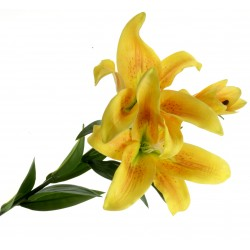 Real Touch Tiger Lily - Yellow (3 heads, 90cm long)