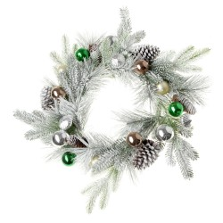 Snowy Spruce Wreath with Mixed Baubles - White & Green (60cm diameter)