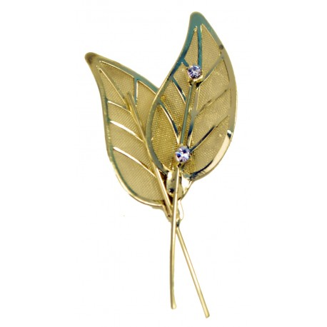 Gleaming Leaves - Gold (12 per pk 6 with rhinestone, 6 without)