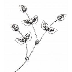 Diamond Ivy Leaf Spray - Silver (22cm long)