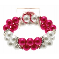 Double Bubble White and Pink Corsage Bracelet