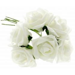 8cm Diameter Rose Bunch - White (6pcs per bunch)
