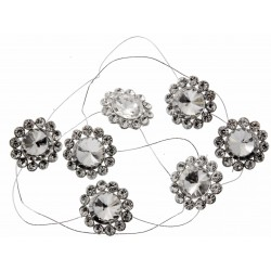 Center of Attention Jewel Garland - Silver (7 x 3cm Diameter Brooches on 1m roll)