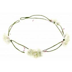 3 Rose Headband - White (17cm Diameter, adjustable)