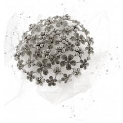 Fancy Brooch Bouquet Eternity - Silver and Cream