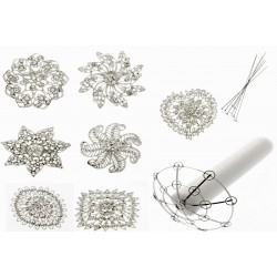 Small Round Brooch bouquet kit with Armature and 7 Brooches - Silver