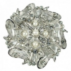 Buttons & Bows Chair Back Brooch - Silver (8.5cm Diameter)