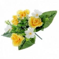 Dainty Rose Bush with Foliage - Yellow (7Heads)
