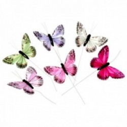 7cm Jewel Tone Feather Butterflies - Hot Pink, Purple, Cream, Green, Fuchsia and Pale Pink (12pcs per pk on a 20cm Wire)