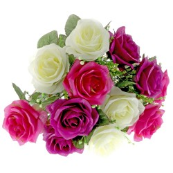 Large Rose Bush - Purple, Pink & Cream (12 Heads)
